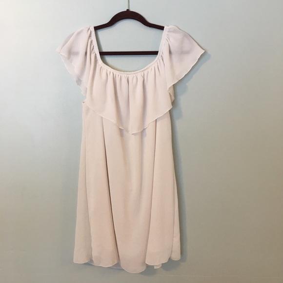 Noble U White Dress Fully Lined Ruffle Neck Large